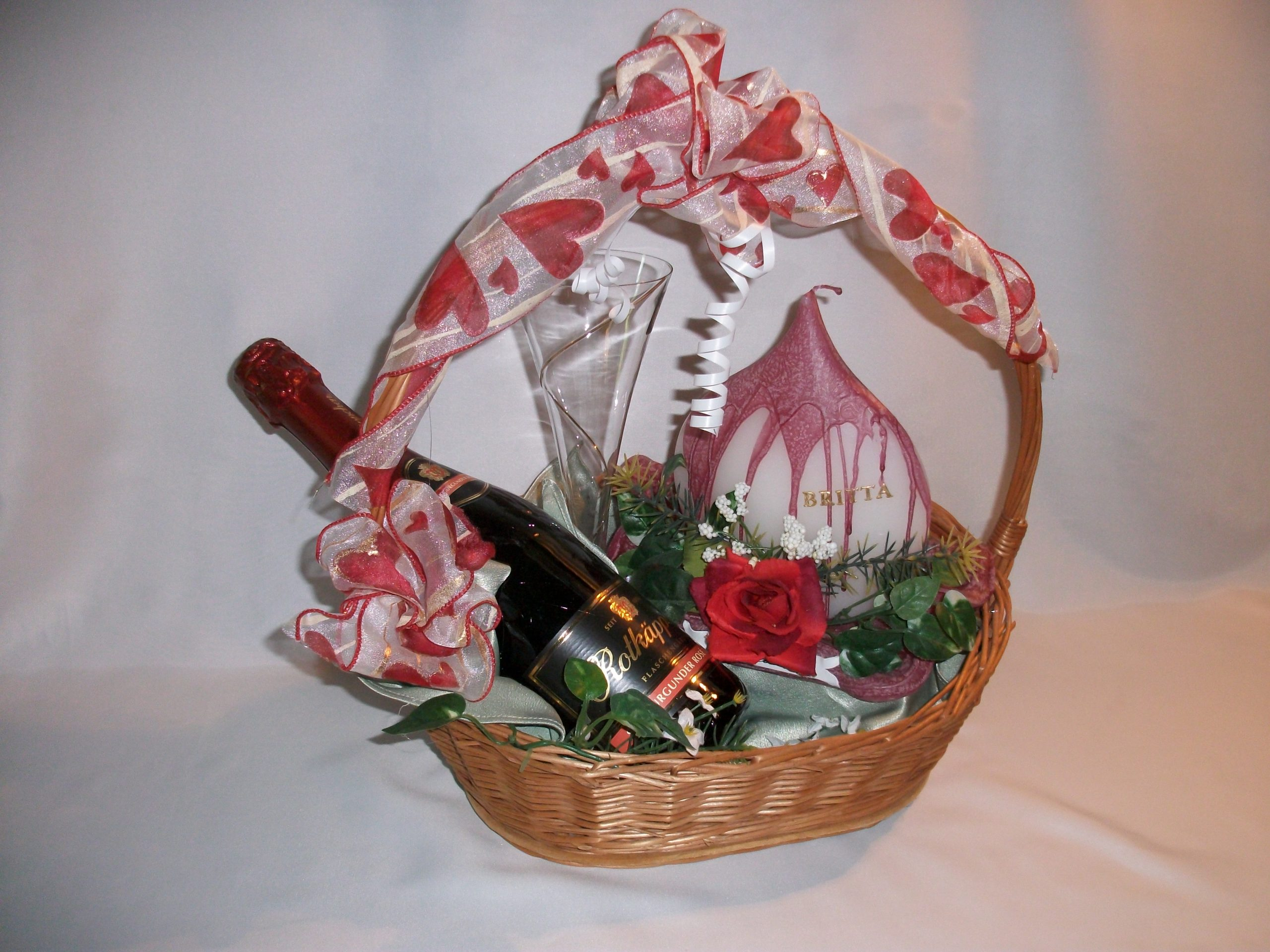 Geburtstagskerze mit Rotkäppchen Sekt Glas Präsentkorb